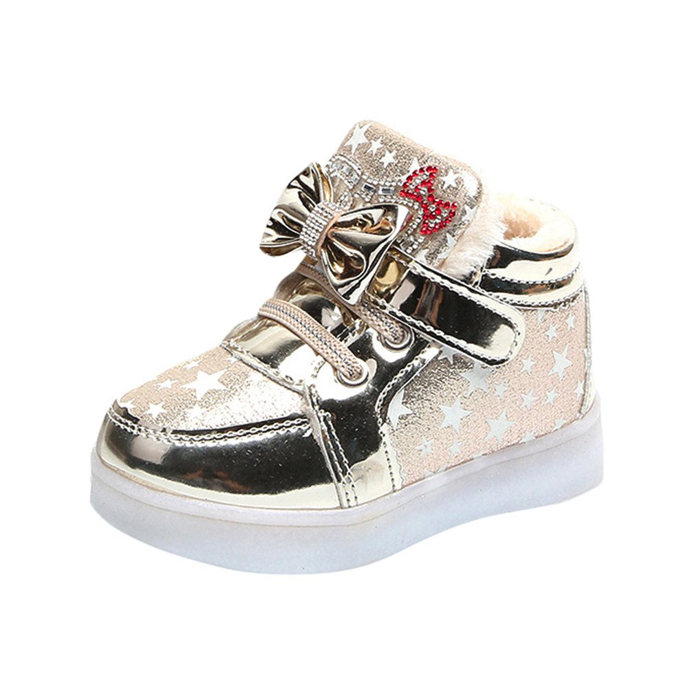 Anglewolf Children Kid Girls Star Bowknot Crystal Mesh Led Light Luminous Sneakers Shoes Baby Warm Winter Kids Toddler Infant Casual Fashion Breathable Lace Up Boots