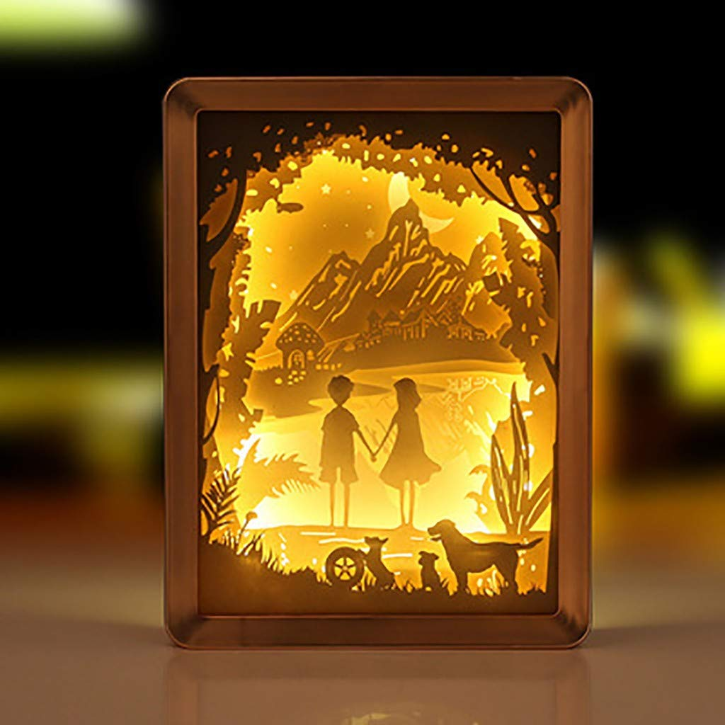 Chirpa Chirstmas Decorations, Couple Photographic Paper Sculpture Lamp DIY Creative Nightscape USB PowerSupply Gold by Chirpa