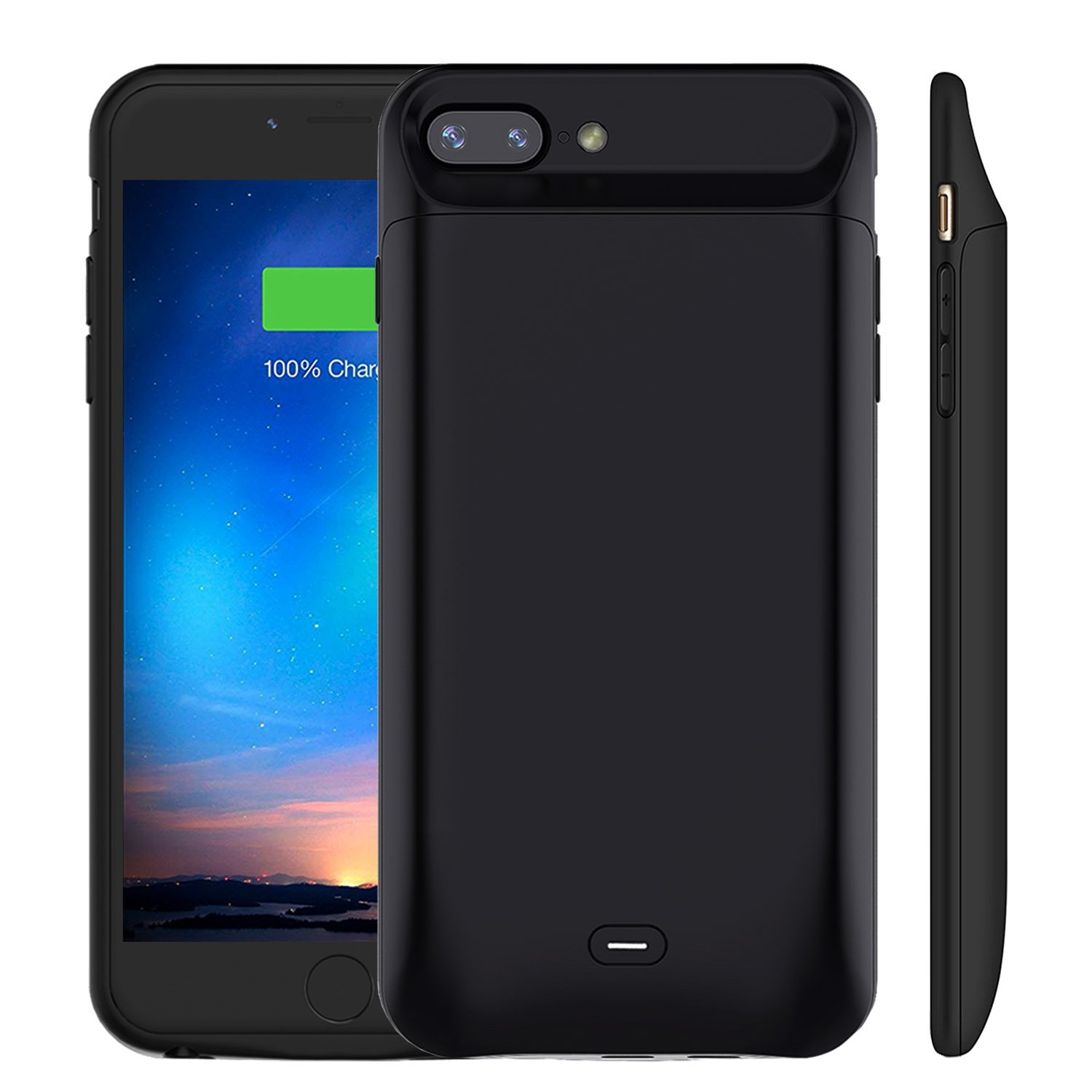 iPhone 8 Plus/7 Plus Battery Case 7200mAh, MAXBEAR Rechargeable External Battery Portable Power Charger Protective Charging Case for Apple iPhone 7 Puls/8 Plus (5.5 Inch)-Black