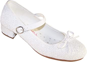 57a99ccff52c29 Sparkle Club Girls  White Glitter Occasion Bridesmaid Wedding Dress Heeled  Shoes Synthetic Mary-Jane