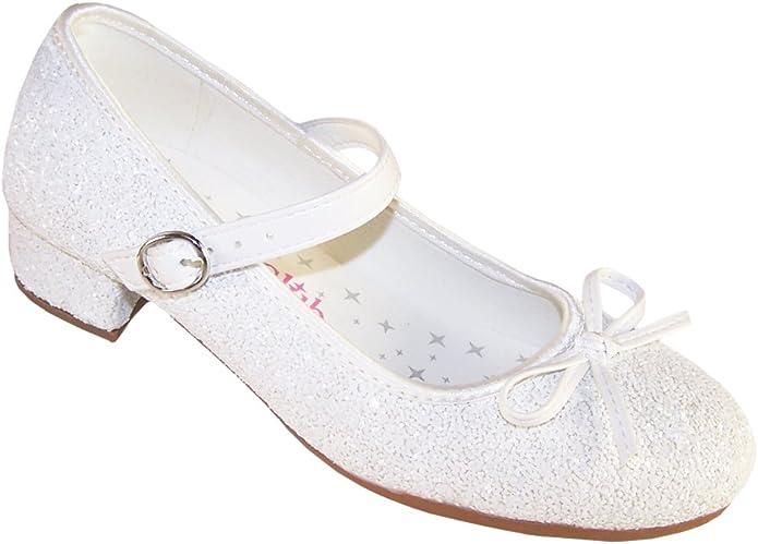 para niñas, Color Blanco Brillante tacón bajo ocasión Especial Zapatos - Blanco, 19 EU: Amazon.es: Zapatos y complementos