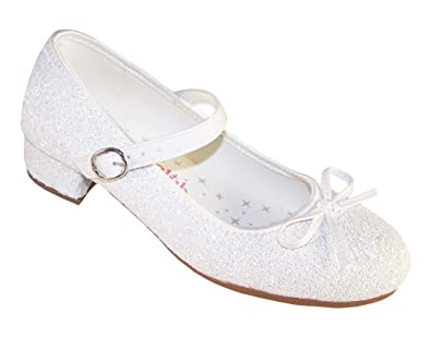 4c94cfcacb6c Girls White Sparkly Special Occasion Mary Jane Shoes: Amazon.co.uk ...