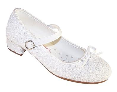 3e16527e65dda Girls White Sparkly Special Occasion Mary Jane Shoes