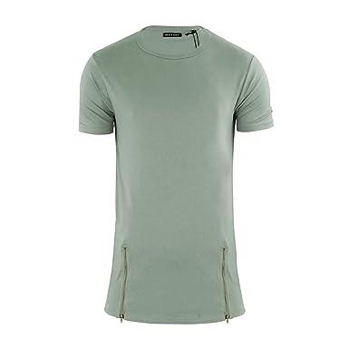 c6f3154bd63a Brave Soul Mens Falcon Longline Zip Detail T Shirt - Dusky Green - X Small
