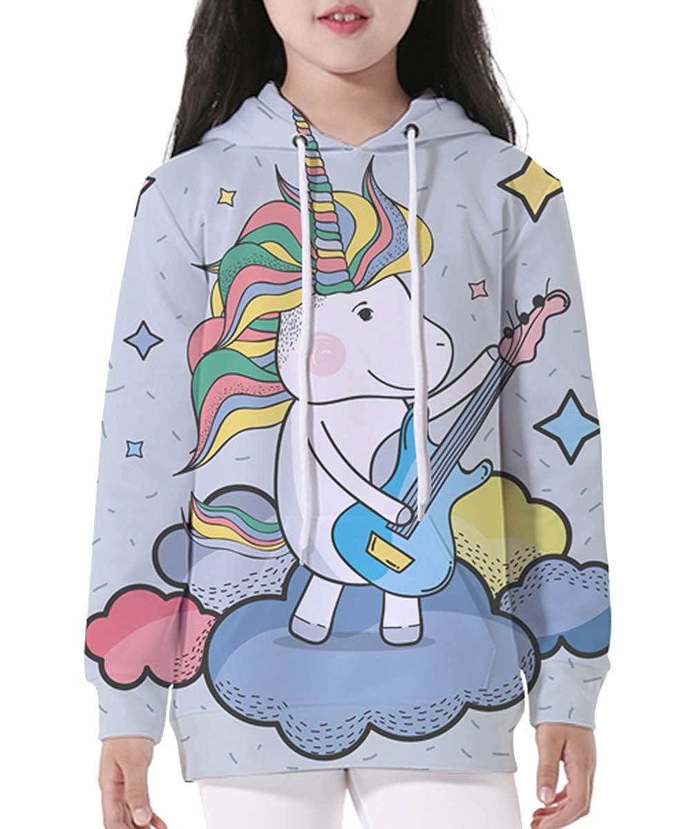 NAYINLAN Unicorn Hoodie Kids Unisex Digital Print Pullover Sweatshirt 3-12 Years
