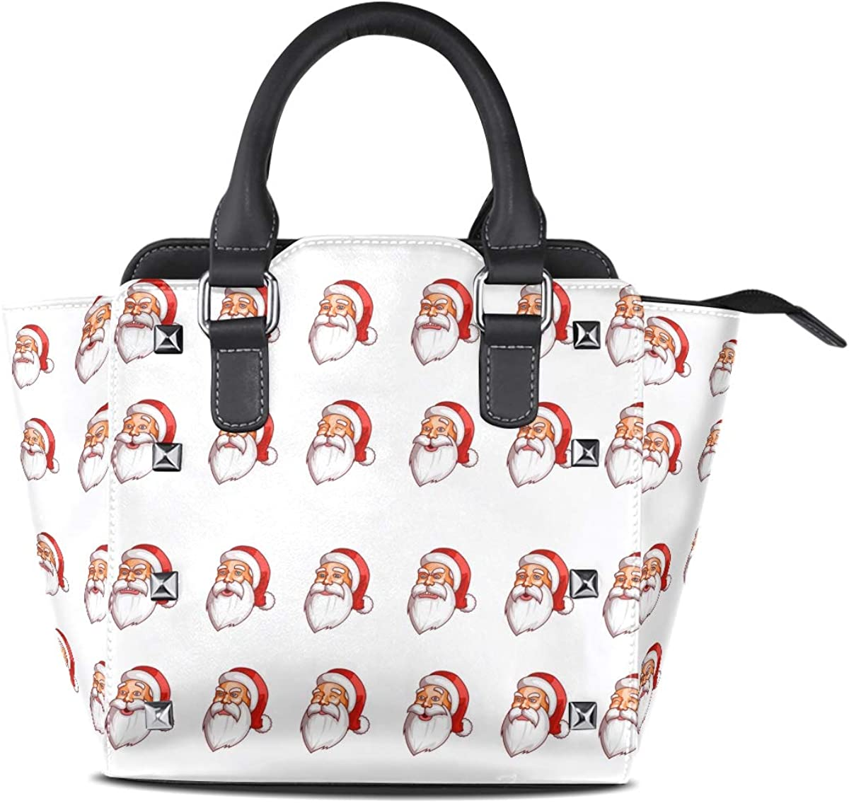 Many Expressions Of Santa Claus Women Top Handle Satchel Handbags Shoulder Bag Tote Purse Messenger Bags