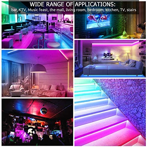 2PCS LED Strip Lights, 10m/32.8ft RGB 600 Led Light Strip 5050 Tape Lights,with RF Remote+12V 5A Power Adapter Non Waterproof, Color Changing LED Strip Lights with Remote for Home Kitchen ect (10M)