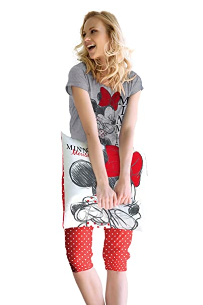 Disney - Pijama Pirata Para Mujer Minnie Mouse, Color Gris Jaspe, Talla L
