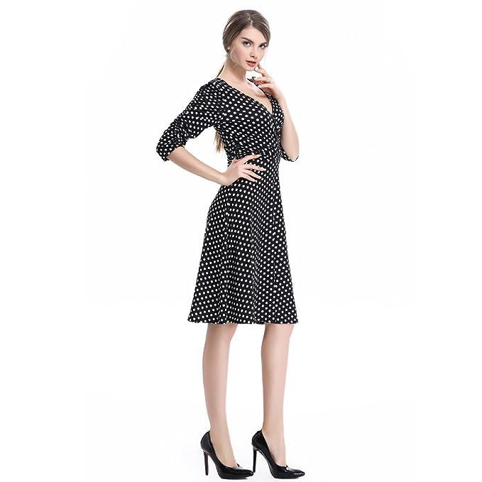 OU Grid Vestido por debajo de la rodilla para mujer, manga francesa, cintura con