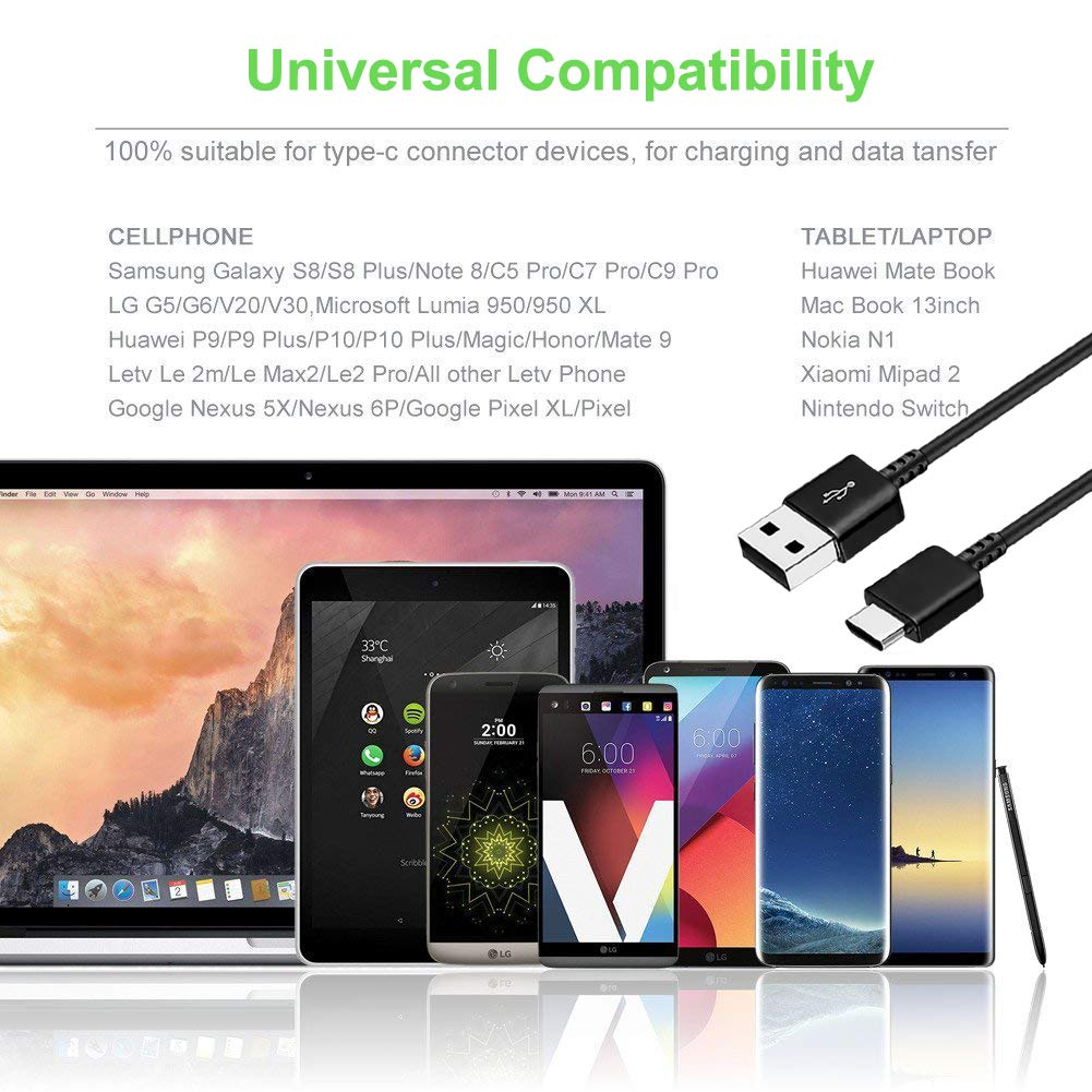 Fast Charge Adaptive Fast Charger Kit for Samsung Galaxy S9/S8/S8 Plus/Note8,MBLAI USB Type C Fast Charging Kit True Digital Adaptive Fast Charging ...