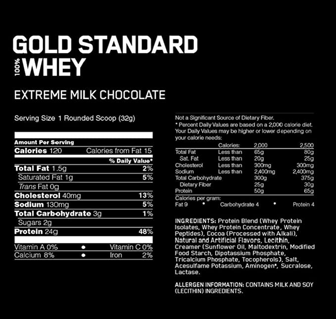 Optimum Nutrition Gold Standard 100% Whey, Suplemento para Deportistas (Extremo Chocolate con Leche), 2270 g