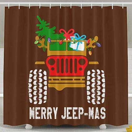 Amazon Arsmt Christmas Jeep Custom Shower Curtain With Hooks