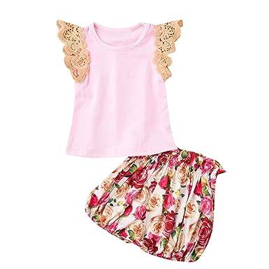 6ea4c18e9 Amazon.com: Tanhangguan 2PCs Clothes Newborn Kid Baby Girls Short Sleeve  Tops+Floral Print Pants Outfits Sets: Clothing