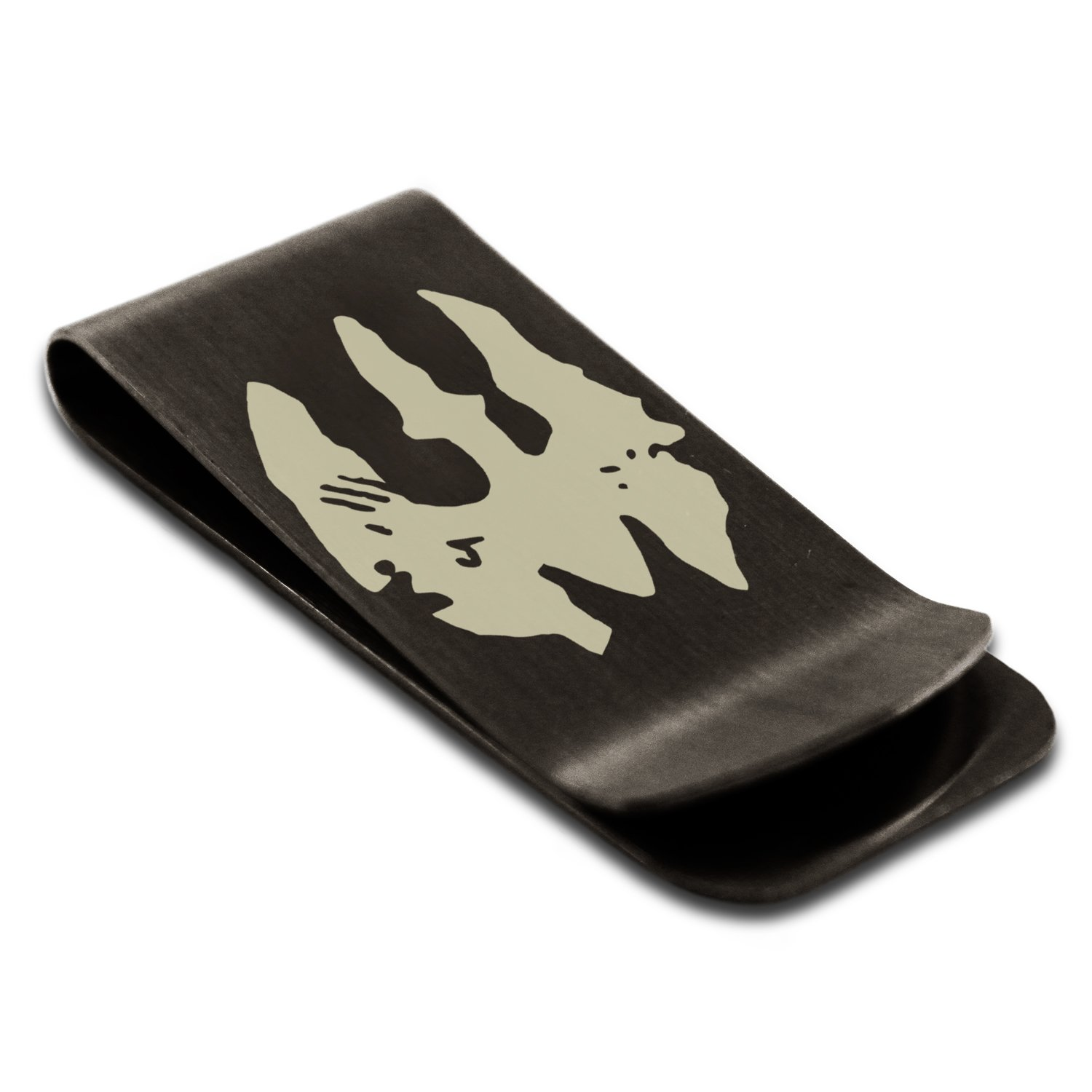 Matte black stainless steel star wars mandalorian death watch matte black stainless steel star wars mandalorian death watch symbol engraved money clip credit card holder at amazon mens clothing store biocorpaavc Image collections