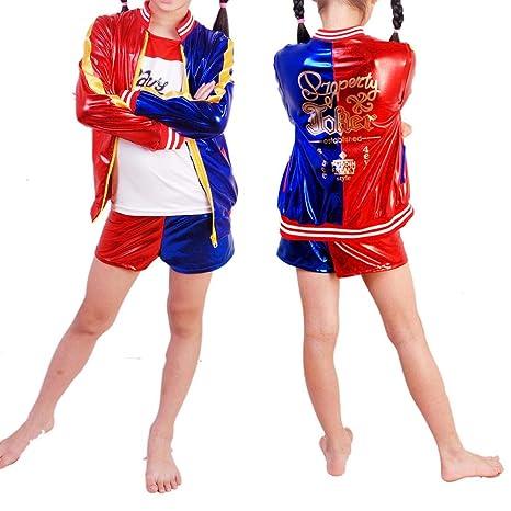 Biback Disfraz de niña Harley Quinn 3 en 1 Juego - Cosplay 3 Piezas Chaqueta + Camiseta + Pantalones Cortos Disfraz Disfraz de Halloween para niños ...