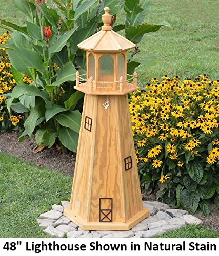 Backyard Crafts Amish-Made Wooden Lighthouse Yard Decoration in Natural Stain, 48