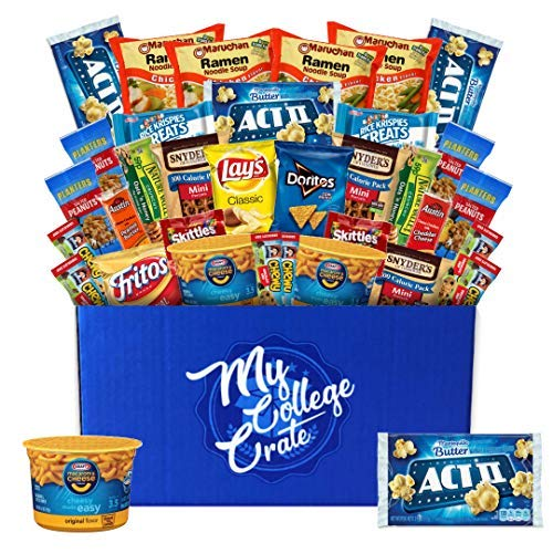 - My College Crate Microwaveables Ultimate Snack Care Package for College Students - Variety Assortment of Microwaveables, Mac & Cheese, Popcorn, Ramen, Chips, Cookies & Candies (40 Snacks)
