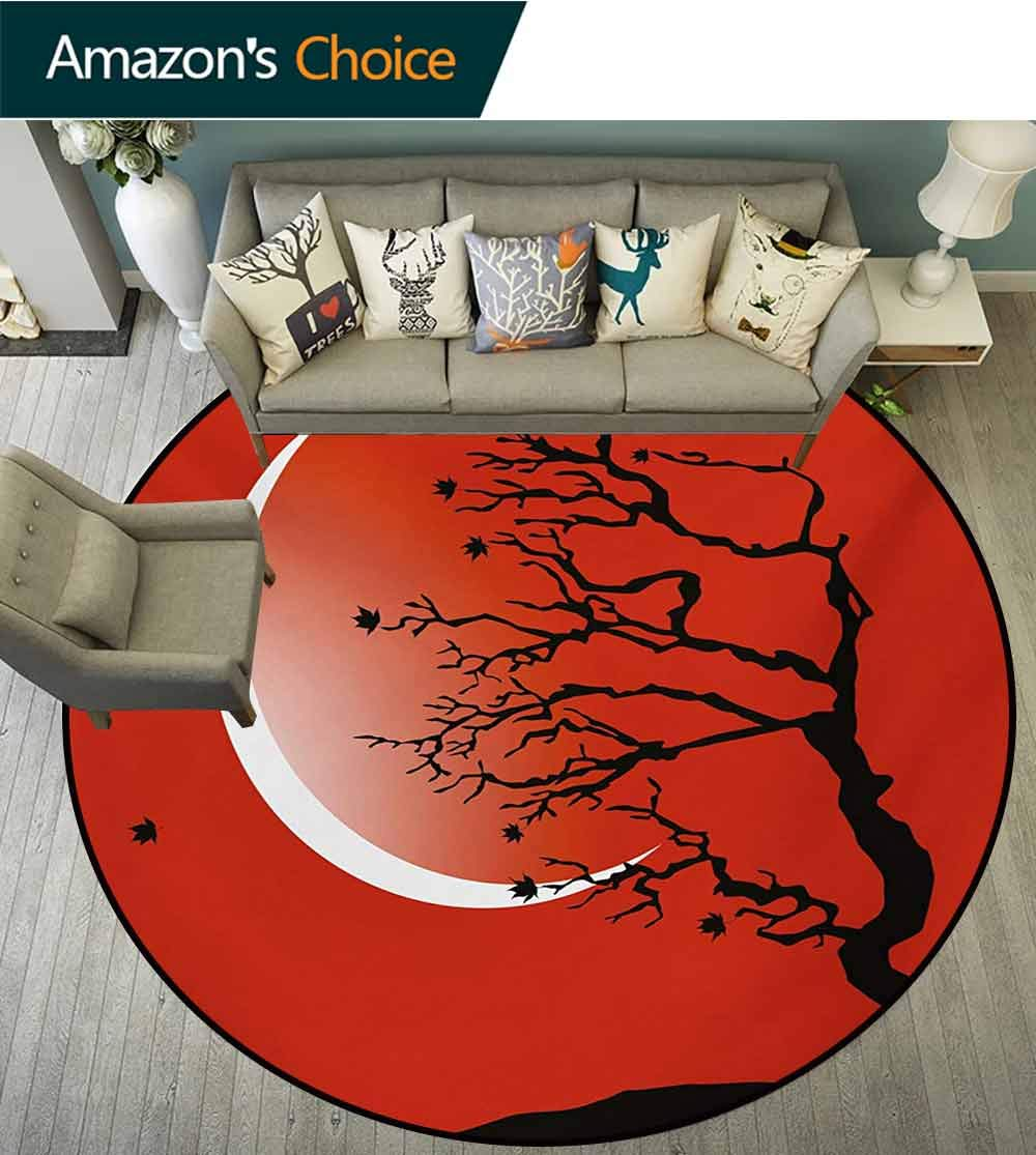 RUGSMAT Modern Round Area Rug Reversible Floor Carpet,Digital Nature Scene with Tree Windy Branches Crescent Moon and Stars Artwork Super Soft Living Room Bedroom Home Shaggy Carpet,Round-55 Inch