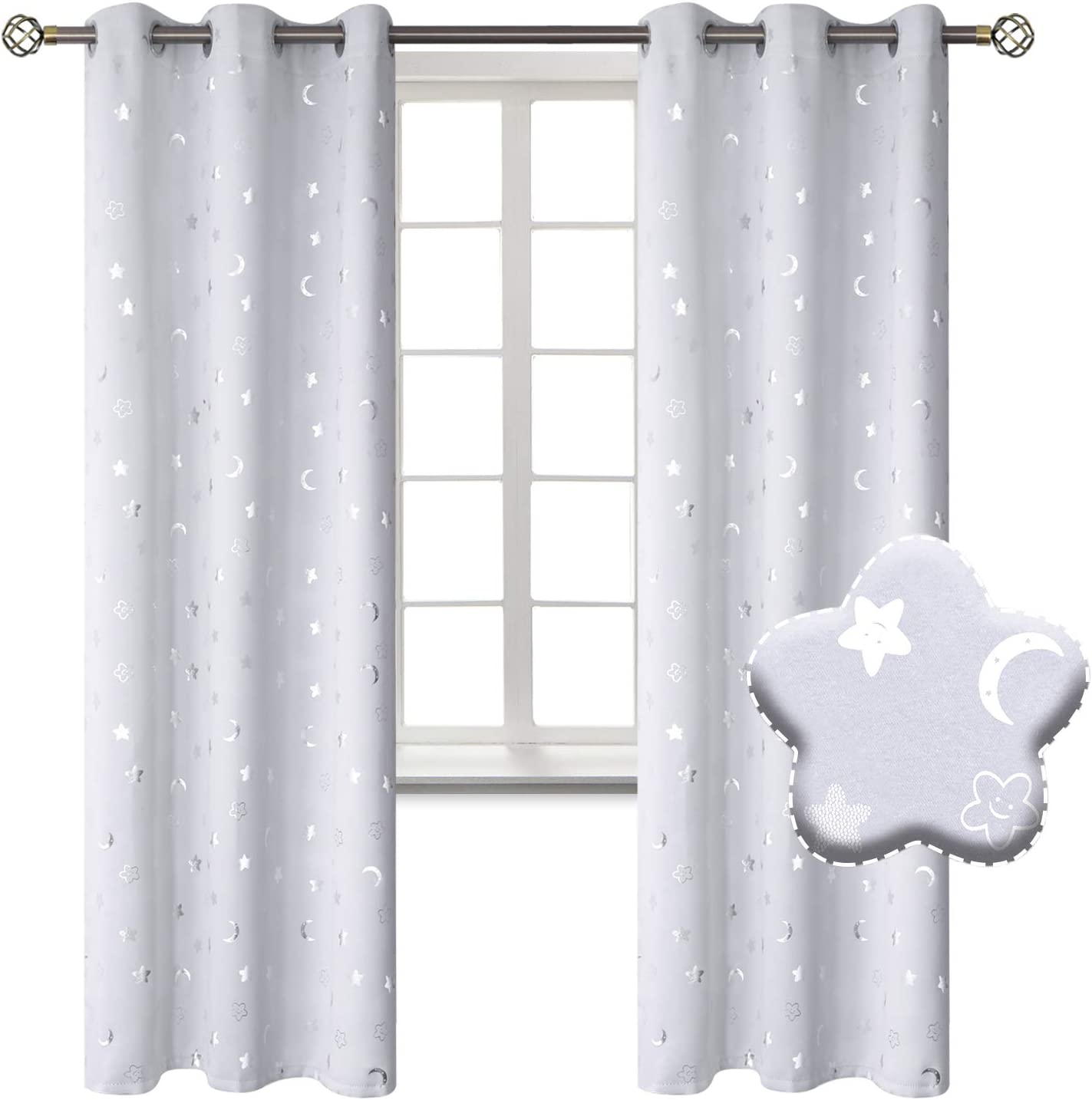 BGment Moon and Stars Blackout Curtains for Kids Bedroom, Grommet Thermal Insulated Room Darkening Printed Nursery Curtains, 2 Panels of 42 x 84 Inch, Greyish White