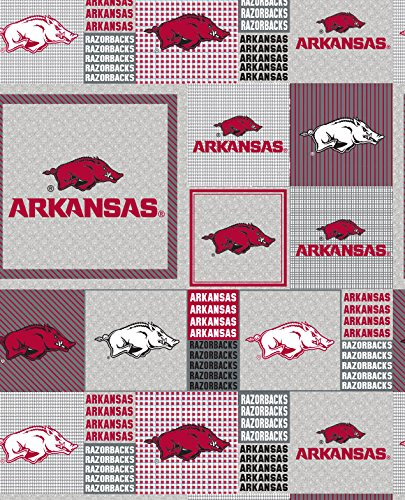 Arkansas Razorbacks Patches Polyester Fleece Fabric, Cardinal & White - Sold By the Yard