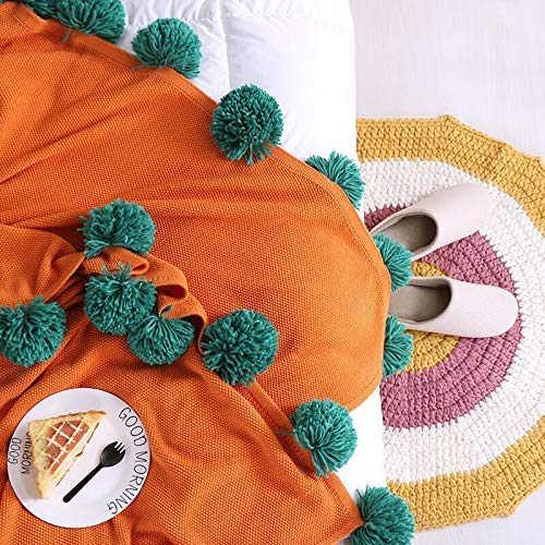 Yunyilian コットンのカラーマッチングボールカーペットコットンエアコン毛布ウィンドソファー毛布装飾毛布写真毛布 (Color : Orange, サイズ : 130×160cm) B07QLG87XZ Orange 130×160cm
