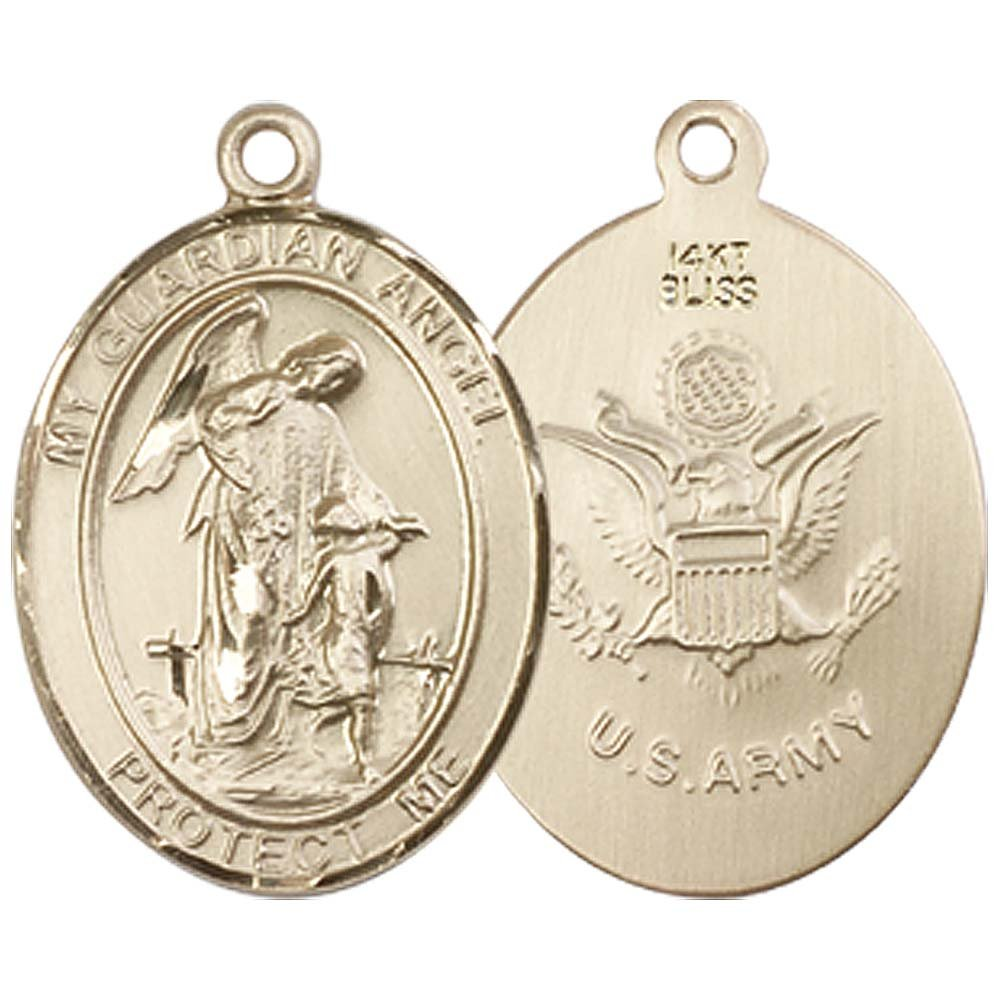 14kt Gold Guardian Angel / Army Medal. Includes deluxe flip-top gift box. Medal/Pendant measures 3/4'' x 1/2''
