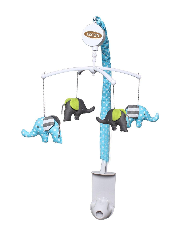Bacati Elephants Crib Set without Bumper Pad Aqua//Lime//Grey