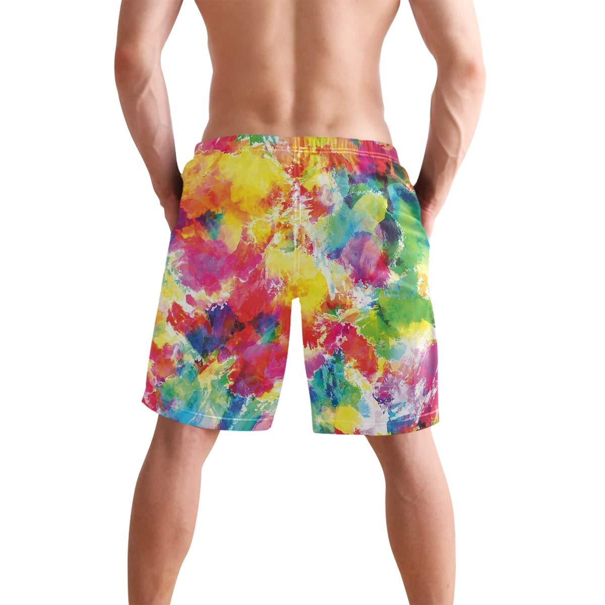 COVASA Mens Summer ShortsOil Painting Style Abstract Watercolors Brushstrokes
