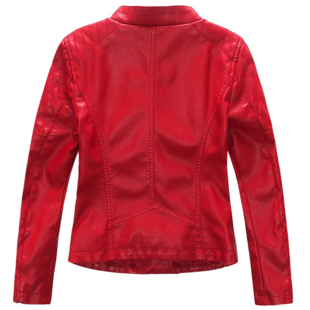 d11f198f2e9a LJYH Girls Faux Leather Quilted Shoulder Motorcycle Jacket  Amazon.co.uk   Clothing