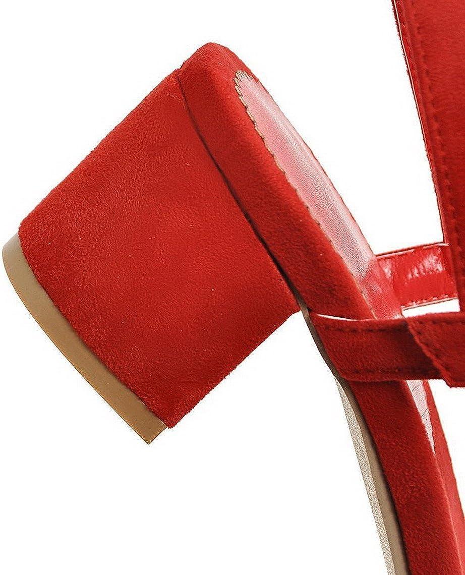AgooLar Femme Dépolissement Couleur Unie Boucle à Talon Correct Sandales Rouge