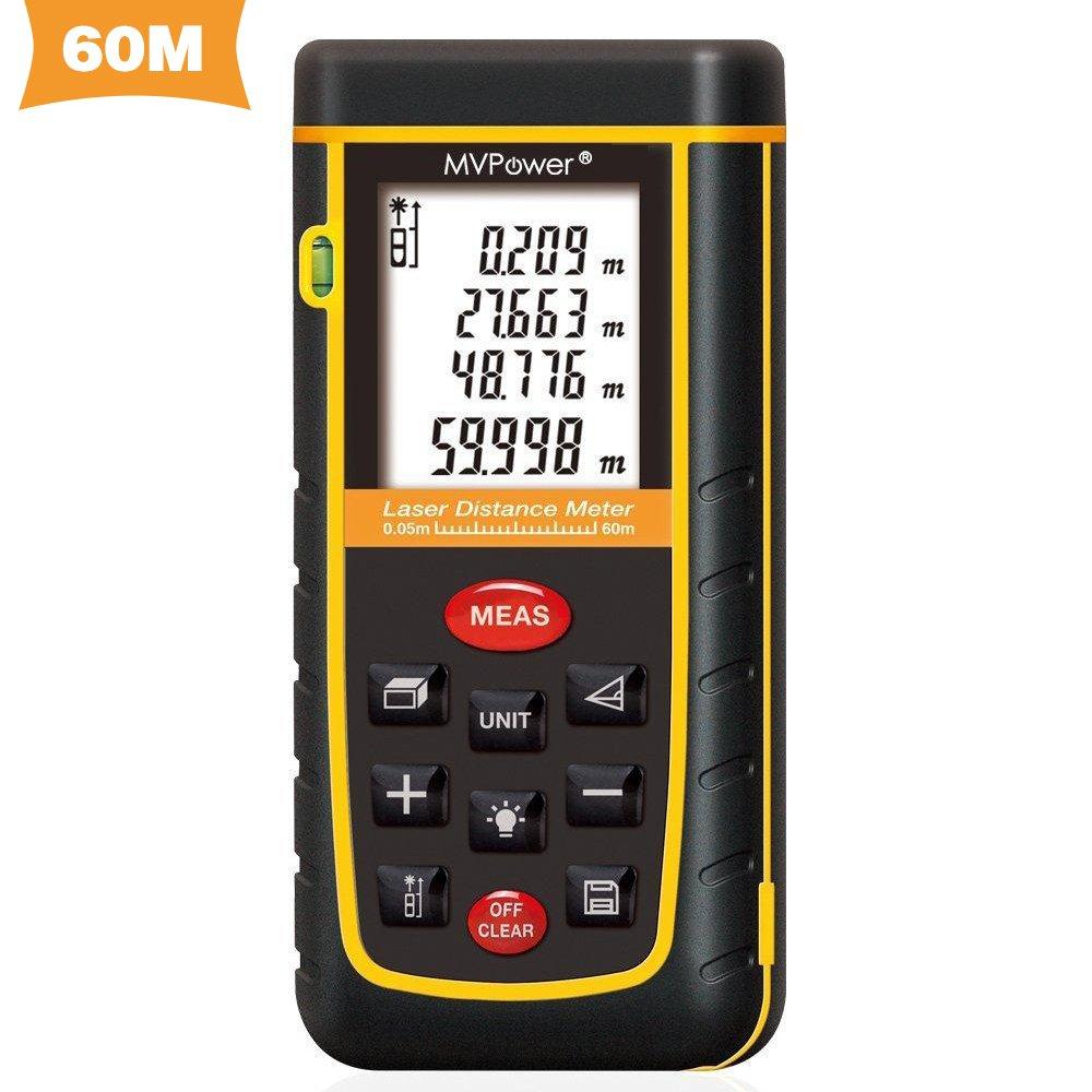 MVPower Laser-Entfernungsmesser 0,05-60 m Messbereich +/- 2mm Messgenauigkeit Laser Distanzmessgerät 40m/80m/100m