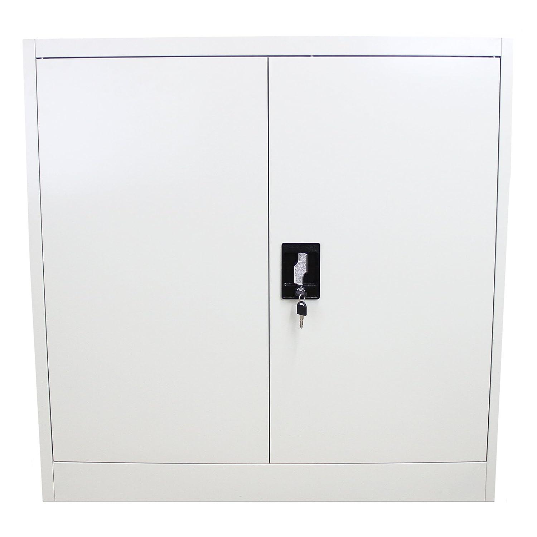 Armario de oficina con 2 puertas de metal, compartimentos para archivar documentos, estante de almacenamiento con cerradura, mueble de armario, color gris claro 90 cm MonsterShop