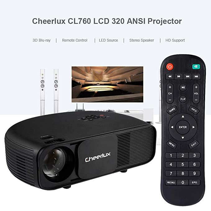 1430886578116d Amazon.com: FidgetGear Cheerlux CL760 LCD 320 ANSI 2000:1 Home Theater  Projector Support 1080P Black: Electronics