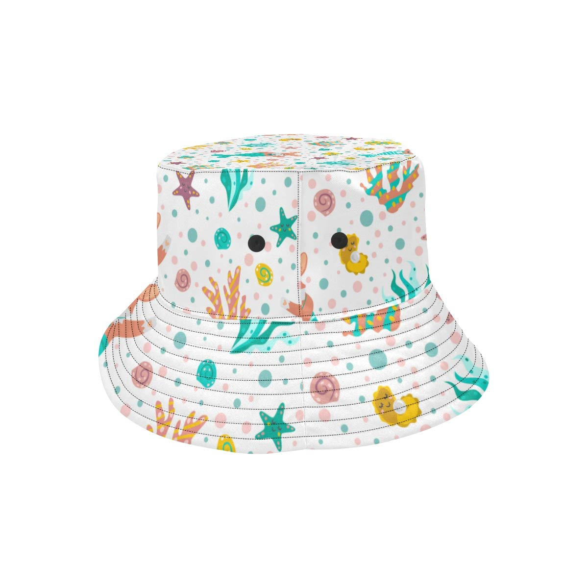 Women and Men with Customize Top Packable Fisherman Cap for Outdoor Travel Funny Dog with Mermaid Tail New Summer Unisex Cotton Fashion Fishing Sun Bucket Hats for Kid Teens