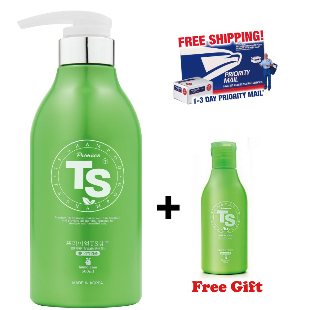TS Premium Shampoo 500ml + Free Travel Size 100ml, Top Selling Hair Loss Prevention Shampoo in Korea [ Shampoo 500ml (16.9oz) + Shampoo 100ml (3.38oz) ]