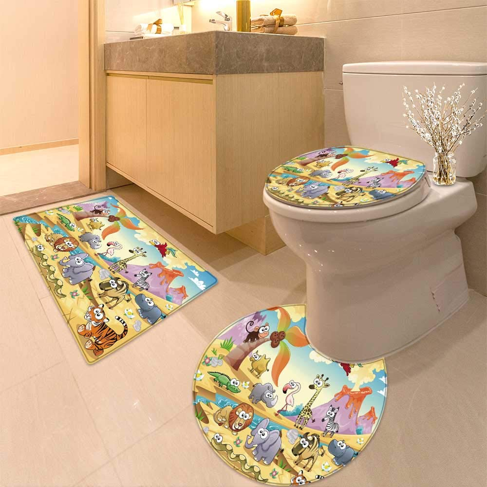 HuaWuhome 3 Piece Extended Bath mat Set Savannah Animal Family with Widen