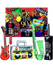 80s 90s Party Decorations Rock Star Toy Party Decorations Includes 80s 90s themed Party Backdrop Banner, Inflatable Microphones, Radio Boombox, Mobile Phone, Guitar, Saxophone Party Props (90's Style)