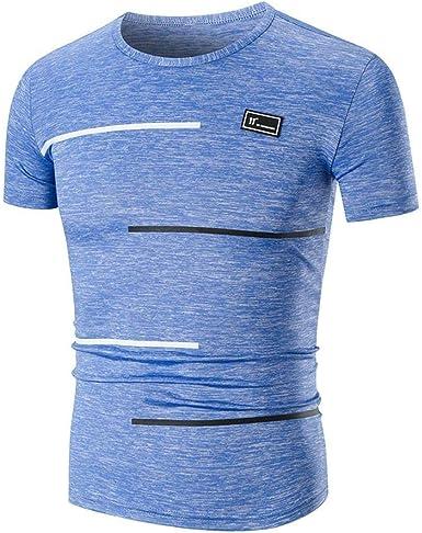 Camisa Deportiva Camiseta Deportiva Vintage para Fit Slim Camisa Hombre Top Blusa Mode De Marca Sudadera con Cuello Redondo De Manga Corta: Amazon.es: Ropa y accesorios