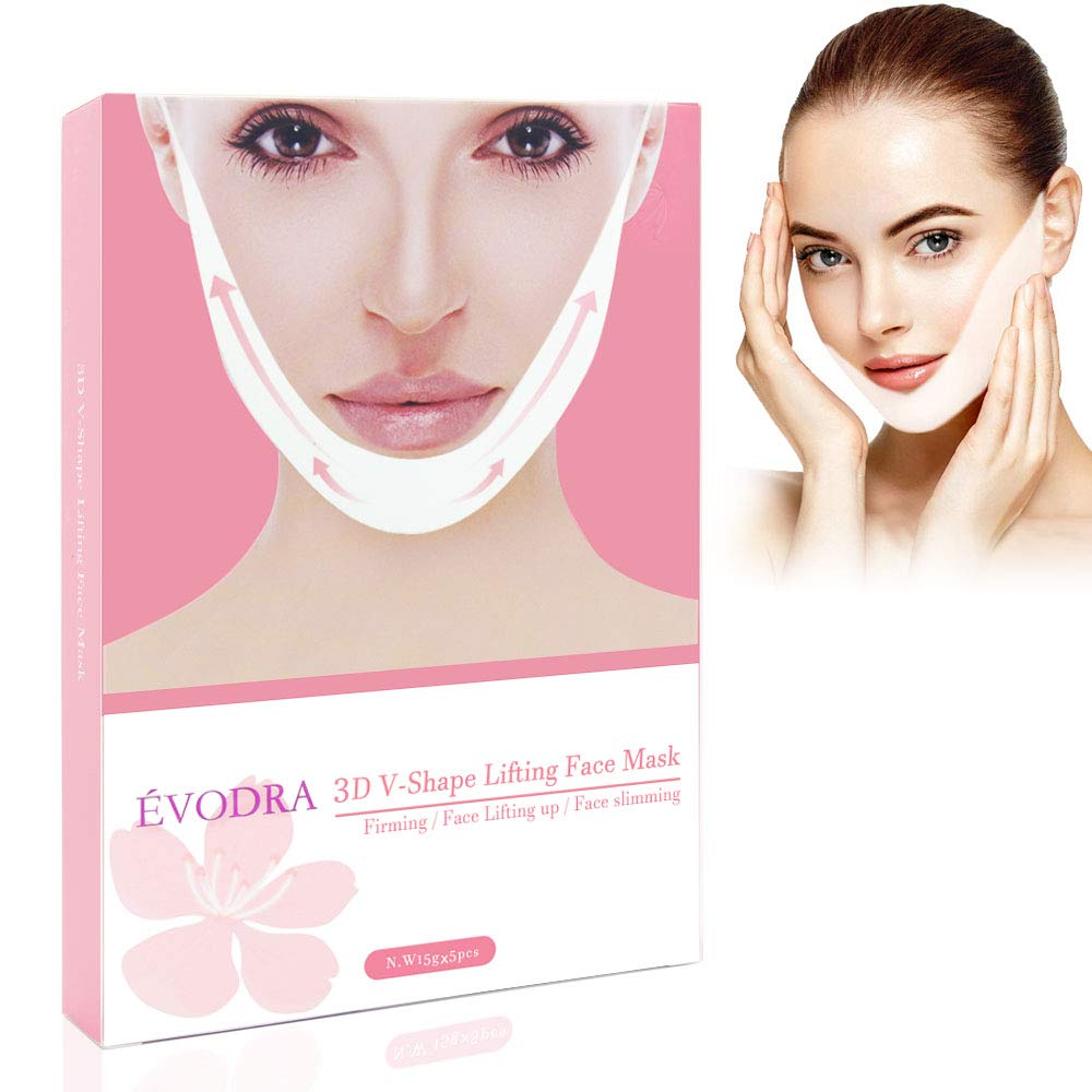 V Face Masks, Pei Mei V-Shape Chin Mask, V Mask, Double Chin Reducer Lifting Face Mask,V-Shape Facial Moisturizing Firming Mask- Pack of 5 Masks