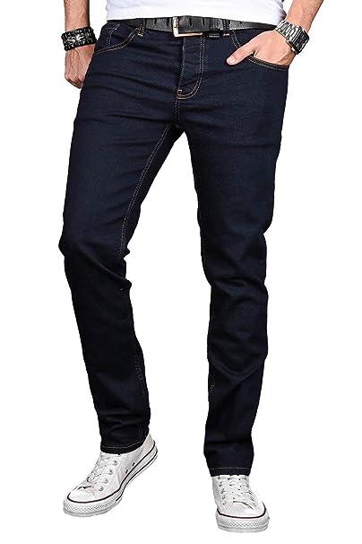 A. Salv arini Designer Hombre – Pantalones Vaqueros Basic Stretch – Pantalones Vaqueros Regular Slim