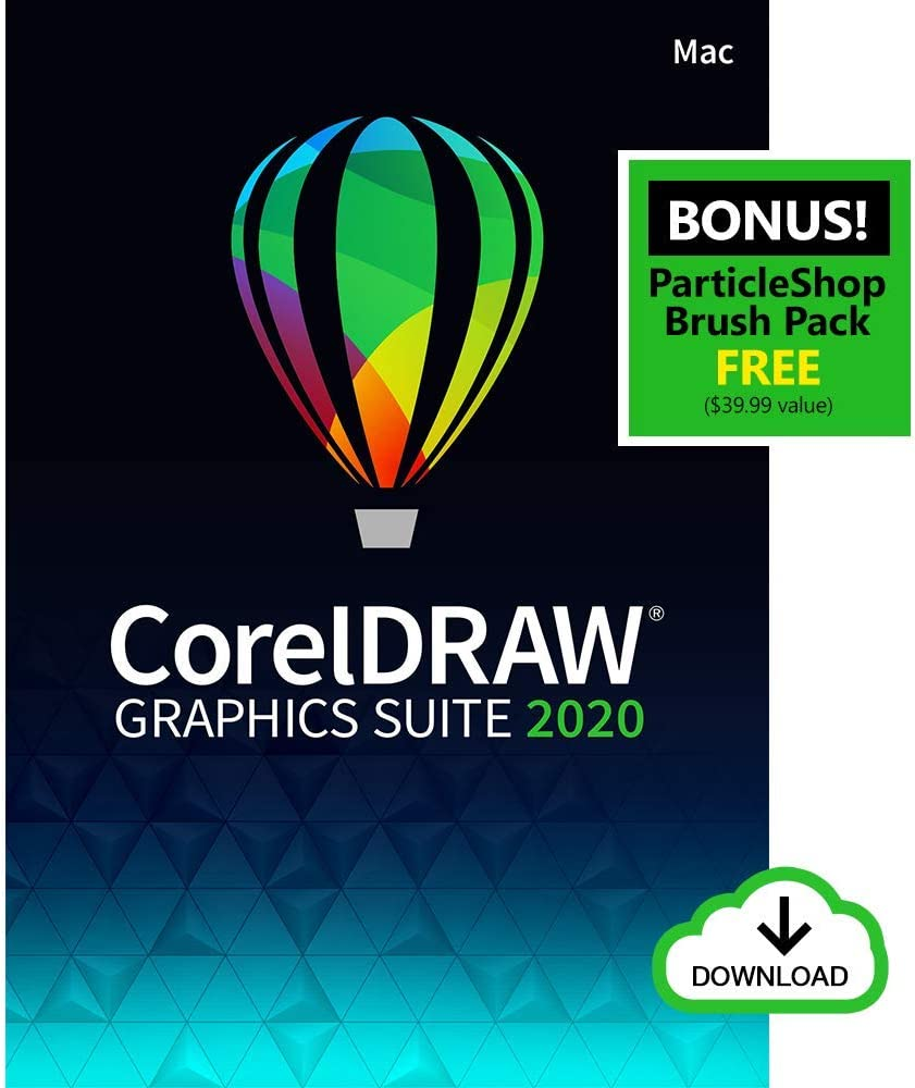 CorelDRAW Graphics Suite 2020 | Graphic Design, Photo, and Vector Illustration Software | Amazon Exclusive includes Free ParticleShop Brush Pack [Mac Download]