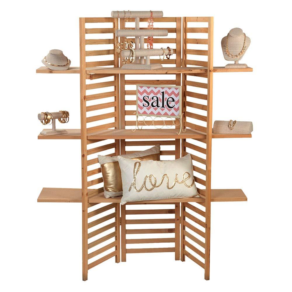 SSWBasics 3-Panel Wood Display with 3 Shelves by SSWBasics (Image #1)