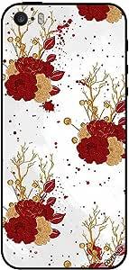 حافظة لجهاز آيفون 5 أحمر وزهور ذهبية