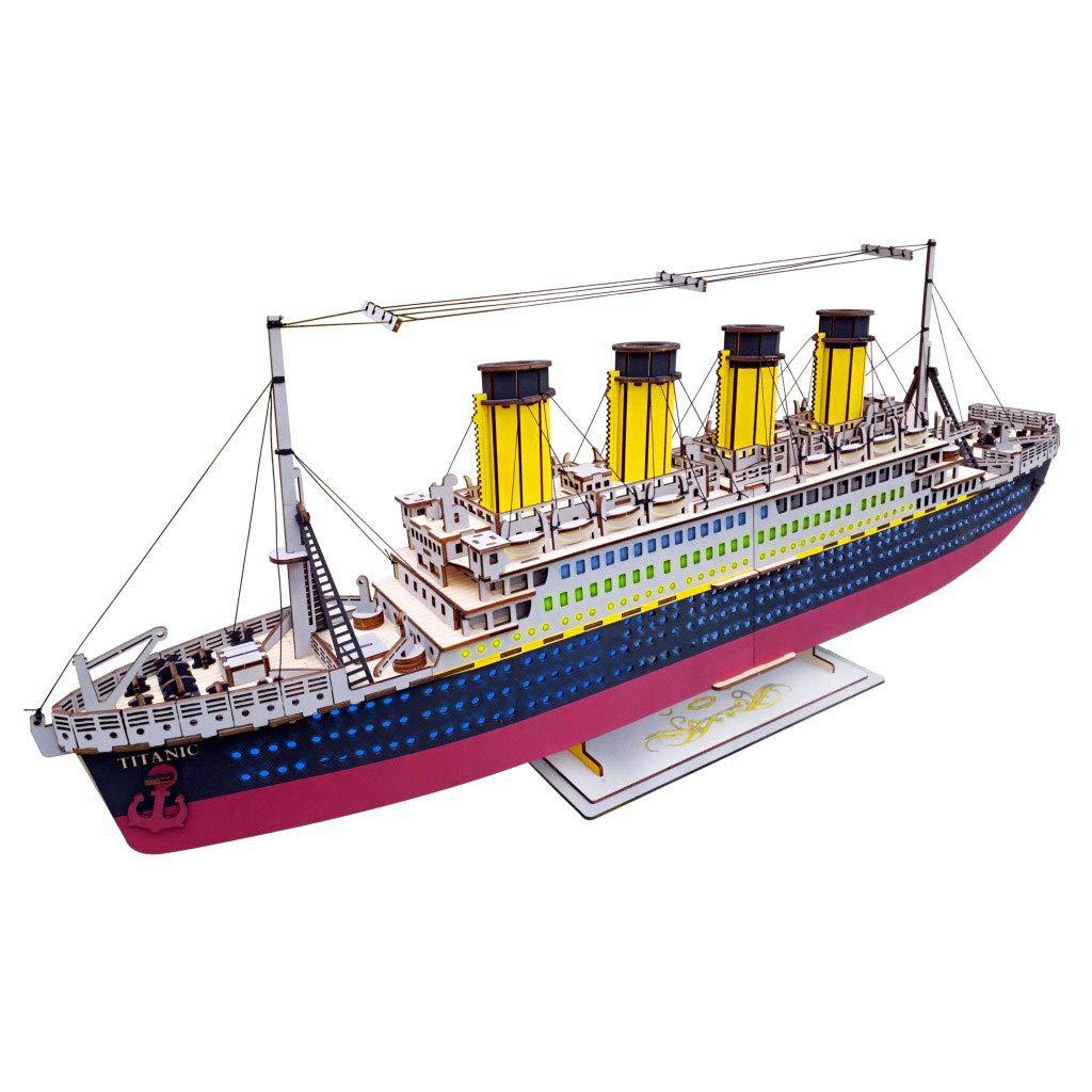 LIANG Titanic Puzzle-Coloree scatola 3D modellolo in Legno 3D Puzzle Puzzle Laser DIY Puzzle Hefatto