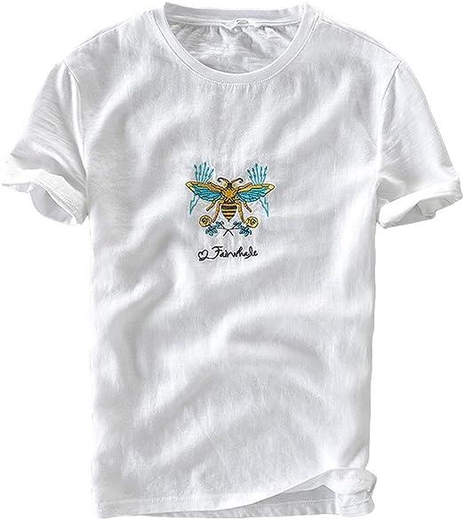 GNMM Camisa De Hombre De Manga Corta Camiseta De Cuello Redondo Bordado De Aguja Blanca for M L XL XXL XXXL,XXL: Amazon.es: Hogar