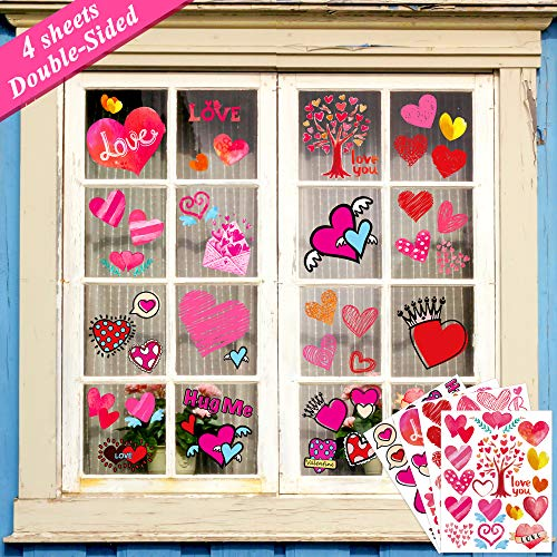 Ivenf Valentines Day Decorations Heart Window Clings Decor, Kids School Home Office Large Valentines Hearts Accessories Birthday Party Supplies Gifts, 4 Sheet 70pcs