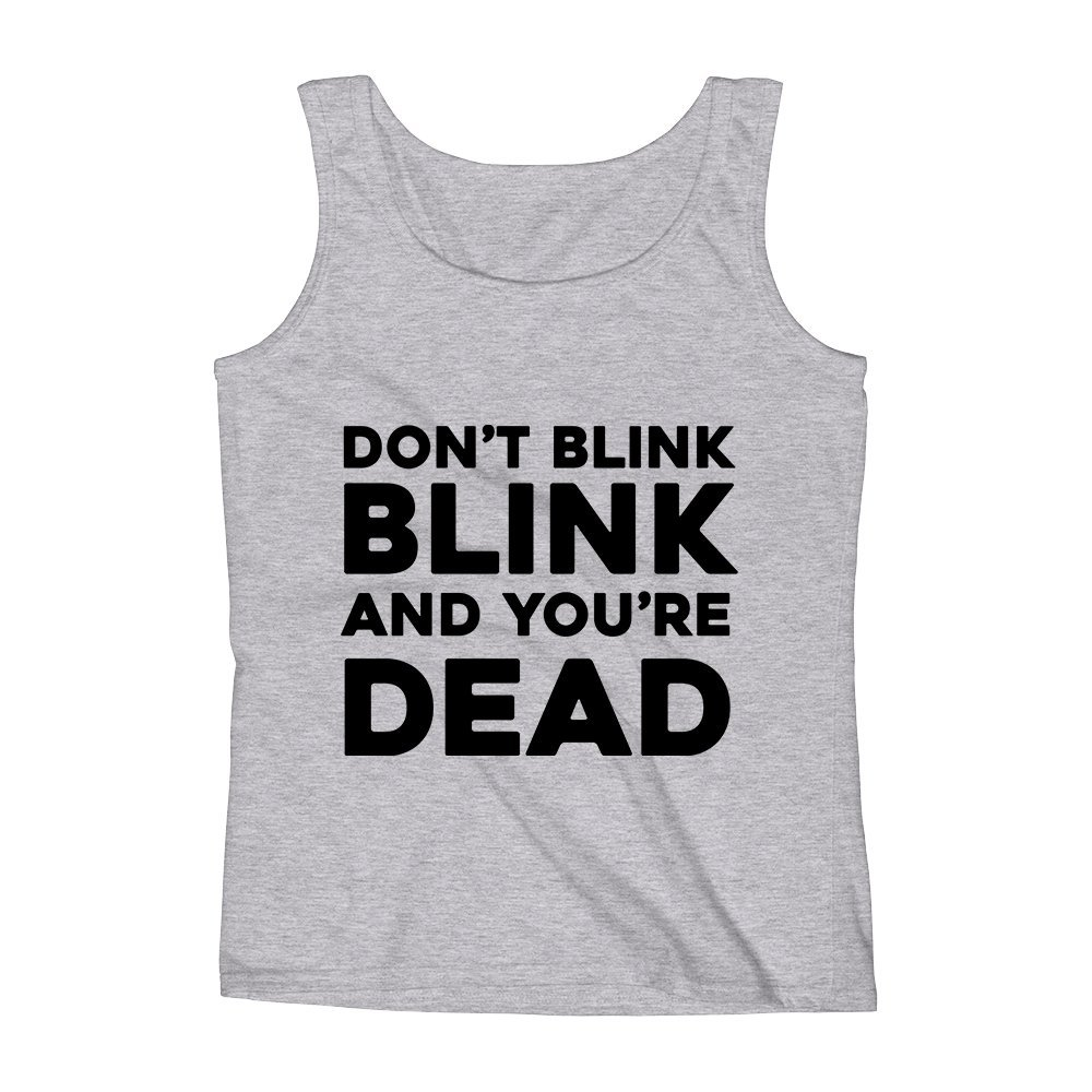 Mad Over Shirts Dont Blink Blink and Youre Dead Funny Challenge Cool Meme Unisex Premium Tank Top