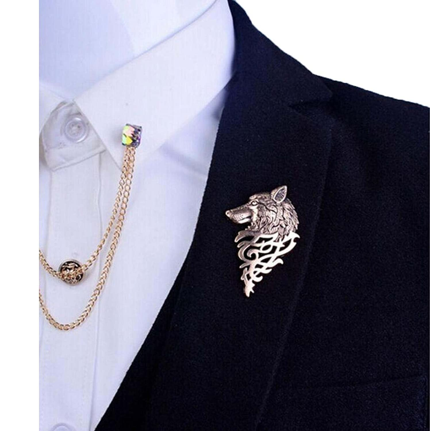 suit brooch tuxedo satin clothing wool lyst lapel jacket black marc gallery jacobs embellished