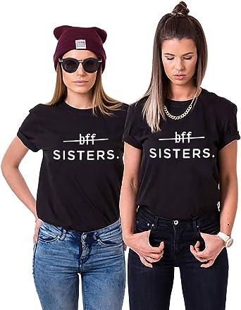 Mejores Amigas Camiseta BFF T-Shirt Best Friend 100% Algodón 2Piezas Impresión Sisters Camisa con Manga Corta para Mujer Hermana: Amazon.es: Ropa y accesorios
