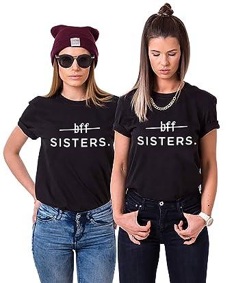 8f124604 Sister Women Matching Best Friends Shirts BFF T-Shirt Girls Cotton Tee  2-Pack